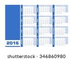 calendar 2016 spanish. vector... | Shutterstock .eps vector #346860980