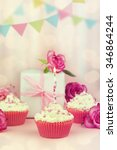 Pink  Birthday Cupcake With...