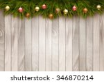 christmas decoration on old... | Shutterstock .eps vector #346870214