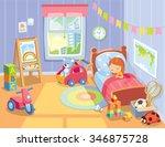 cozy children's bedroom... | Shutterstock .eps vector #346875728