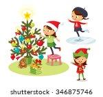 cute children christmas... | Shutterstock .eps vector #346875746