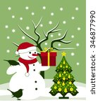 vector snowman with gift and... | Shutterstock .eps vector #346877990