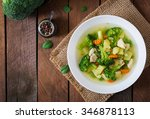 chicken soup with broccoli ... | Shutterstock . vector #346878113