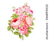 spring flowers bouquet of color ... | Shutterstock .eps vector #346893410