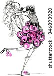 girl graphic pink. ink. girl ...   Shutterstock .eps vector #346893920