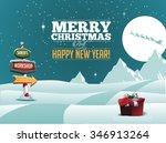 north pole santa's workshop... | Shutterstock .eps vector #346913264