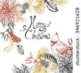 christmas vintage floral... | Shutterstock .eps vector #346921628