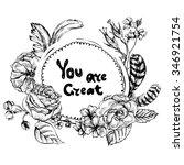 monochrome floral vintage... | Shutterstock .eps vector #346921754