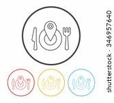 tableware line icon   Shutterstock .eps vector #346957640