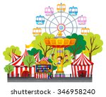 children riding on swing at the ... | Shutterstock .eps vector #346958240