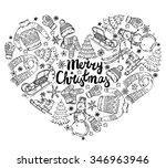 set of vector hand drawn winter ... | Shutterstock .eps vector #346963946
