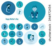 happy mothers day simple flat... | Shutterstock . vector #346972454