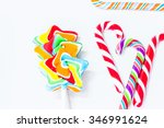 the candy stick on the white... | Shutterstock . vector #346991624