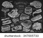 american menu on chalkboard... | Shutterstock .eps vector #347005733