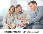 financial adviser showing terms ... | Shutterstock . vector #347013860
