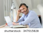 businessman teleworking ... | Shutterstock . vector #347015828