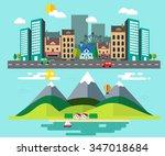 how different between rural... | Shutterstock .eps vector #347018684