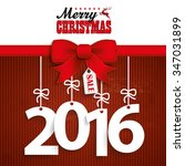 red ribbon with text merry... | Shutterstock .eps vector #347031899