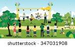 musical concert in the garden... | Shutterstock .eps vector #347031908