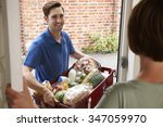 driver delivering online... | Shutterstock . vector #347059970