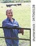 farmer leaning on gate in field ...