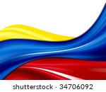 Colombia waves flag, yellow, blue and red colors over white background - stock photo