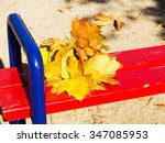 bouquet of yellow maple leaves... | Shutterstock . vector #347085953