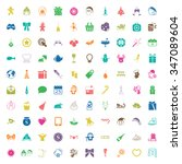 christmas 100 icons new year... | Shutterstock . vector #347089604