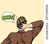 oops surprised man back view... | Shutterstock .eps vector #347104946