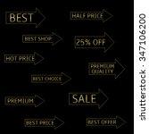 golden arrows with text. raster ... | Shutterstock . vector #347106200