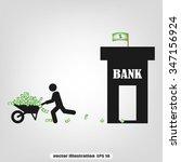money wheelbarrow man bank | Shutterstock .eps vector #347156924
