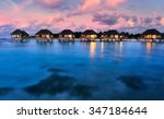 water bungalows with beautiful... | Shutterstock . vector #347184644