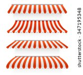 set of striped awnings. vector...   Shutterstock .eps vector #347195348