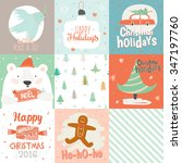 collection of 9 christmas gift...   Shutterstock .eps vector #347197760