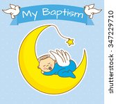 angel baby sleeping on the moon.... | Shutterstock .eps vector #347229710