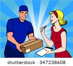 delivery boy with box and woman ... | Shutterstock .eps vector #347238608