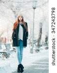 young  woman in winter park 1 | Shutterstock . vector #347243798