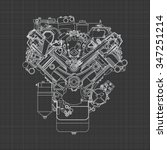 engine line drawing background | Shutterstock .eps vector #347251214