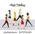 people walking design  vector...   Shutterstock .eps vector #347251634