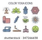 set of 12 line yoga icons. hand ...   Shutterstock .eps vector #347266658