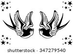 vector tattoo swallow pair...