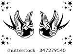 vector tattoo swallow pair... | Shutterstock .eps vector #347279540