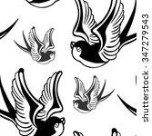 vector tattoo swallow seamless...   Shutterstock .eps vector #347279543