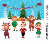 cartoon illustration of a group ...   Shutterstock . vector #347284208