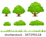 simple cartoon tree  bush  and... | Shutterstock .eps vector #347290118