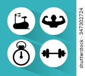 gym concept with fitness icons... | Shutterstock .eps vector #347302724