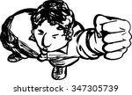 outline of annoyed black man... | Shutterstock .eps vector #347305739