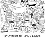 hand drawn kitchen utensils... | Shutterstock .eps vector #347312306
