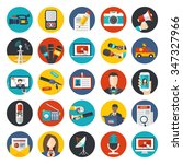 news and media flat icons set.... | Shutterstock .eps vector #347327966