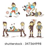 footballers and referee flat... | Shutterstock .eps vector #347364998